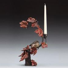 Autumn's Return Bird with Flowers Bronze Candelabra