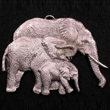 Elephant Family Pewter Ornament