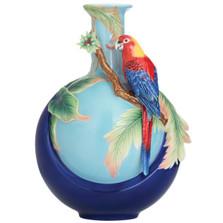 Blue Wing Parrot Porcelain Vase | FZ02758