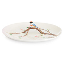 Black Throated Passerine Bird Porcelain Tray | FZ02759
