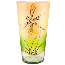 Dragonfly Art Glass Cylinder Vase