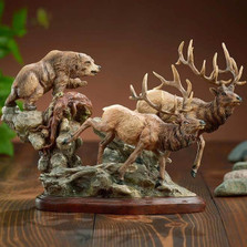 "Elk And Bear Sculpture ""Encounter"""