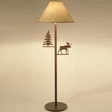 Moose & Pine Tree Floor Lamp