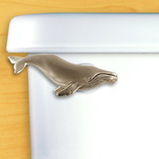 Humpback Whale Toilet Flush Handle | Satin Pewter