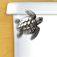 Sea Turtle Toilet Flush Handle | Satin Pewter