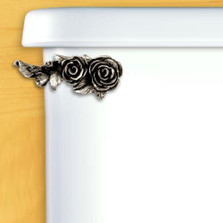 Roses Toilet Flush Handle | Satin Pewter
