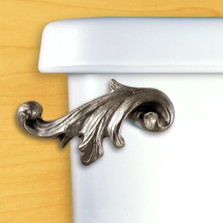 Acanthus Leaf Toilet Flush Handle | Satin Pewter