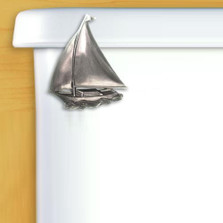 Sailboat Toilet Flush Handle | Satin Pewter