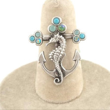 Seahorse Anchor Turquoise Il Mare Ring | Nature Jewelry
