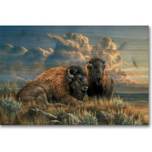 """Bison Wood Wall Art """"Distant Thunder"""""""
