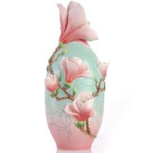 Magnolia Flower Sculptured Porcelain Vase   FZ03414   Franz Porcelain Collection