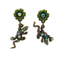 Lizards And Flowers Post Earrings | Nature Jewelry