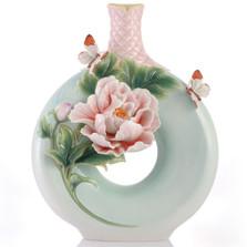Peony Flower Sculptured Porcelain Vase   FZ03418   Franz Porcelain Collection