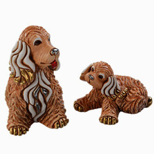 Cocker Dog and Puppy Ceramic Figurine Set | Rinconada