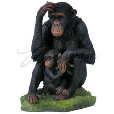 Chimpanzee and Baby Sculpture Color
