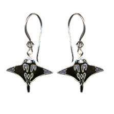 Manta Ray Cloisonne Wire Earrings | Nature Jewelry