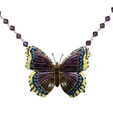 Mourning Cloak  Butterfly Crystal Necklace | Nature Jewelry