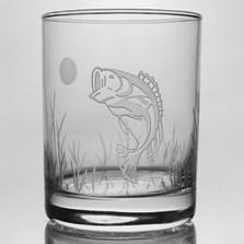 """Bass Drink Glass Set of 4 """"Lake Fish"""""""