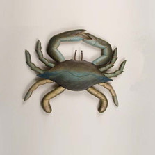 Blue Crab Carved Wood Wall Sculpture