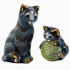 Striped Cat and Baby Ceramic Figurine Set | Rinconada