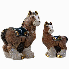 Clydesdale Horse and Baby Ceramic Figurine Set | De Rosa | Rinconada | F191-F391