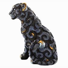 Black Panther with Arabesques Ceramic Figurine | Rinconada