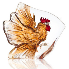 Rooster Painted Crystal Sculpture | 34179
