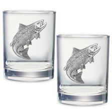 Salmon Double Old Fashioned Glass Set of 2 | Heritage Pewter | DOF3690