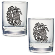 Sea Turtle Double Old Fashioned Glass Set of 2