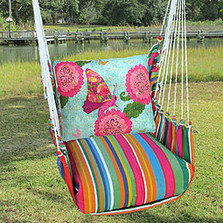 Butterfly Floral Hammock Chair Swing Pink