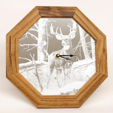"Deer Oak Mirror with Clock ""After the Season"""