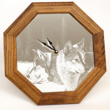 """Wolves Oak Mirror with Clock """"Blue Morning Trackers"""""""