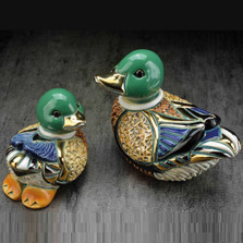 Mallard Duck and Baby Ceramic Figurines| De Rosa | Rinconada