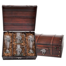 Bear Tribal Beer Glass Chest Set