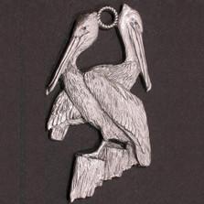 Pelican Pewter Ornament