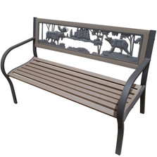 Moose and Bear 2-Tone Tube Steel Outdoor Bench