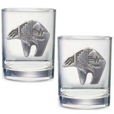 Bear Tribal Double Old Fashioned Glass Set of 2