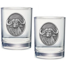 Cape Buffalo Double Old Fashioned Glass Set of 2