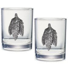 Bird Feathers Double Old Fashioned Glass Set of 2 | Heritage Pewter | HPIDOF4001