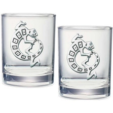 Lizard Gecko Double Old Fashioned Glass Set of 2