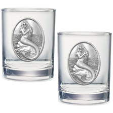 Mermaid Double Old Fashioned Glass Set of 2