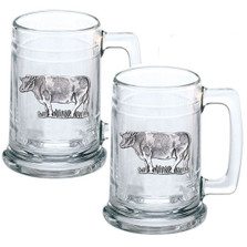 Cow Beer Stein Set of 2
