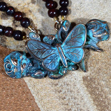 Butterfly on Roses Verdigris Brass Pendant Necklace | Nature Jewelry