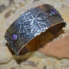 Dragonfly Filigree Cuff Bracelet | Nature Jewelry
