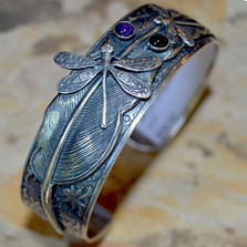 Dragonflies on Feather Cuff Bracelet | Nature Jewelry