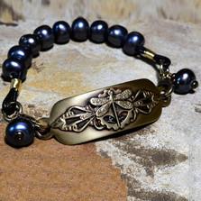 Dragonfly Antiqued Brass Rockband Bracelet | Nature Jewelry