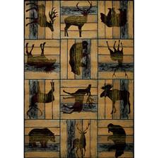 Deer Elk Moose Area Rug Lodge D'eco