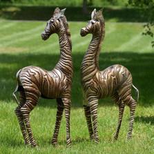 Zebra Metal Outdoor Statues Set of 2