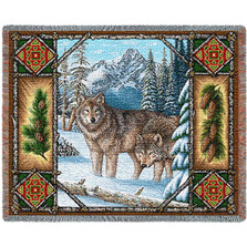 Wolf Lodge Tapestry Throw Blanket