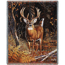 "Deer Tapestry Throw Blanket ""Bad Attitude"""